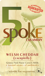 5 Spoke Creamery: Welsh Cheddar (Caerphilly) grass fed cow's milk new york cheese label.