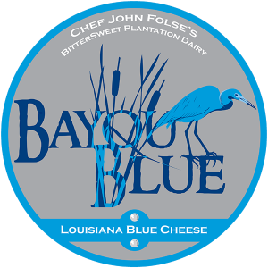 Chef John Folse's BitterSweet Plantation Dairy Bayou Blue Louisiana cheese label.