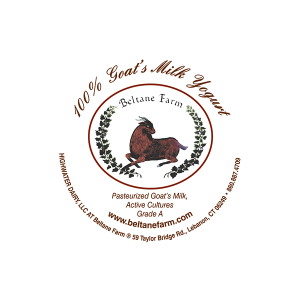 Beltane Farm: 100% Goat's Milk Yogurt CT circle label.