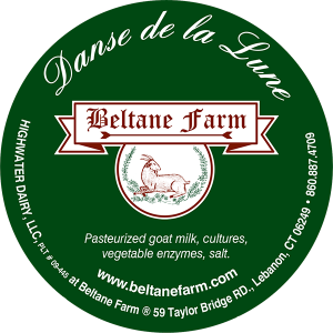 Beltane Farm: Danse de la Lune pasteurized goat milk connecticut cheese label.