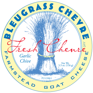 Bleugrass Chevre Garlic Chive farmstead goat ohio cheese label.