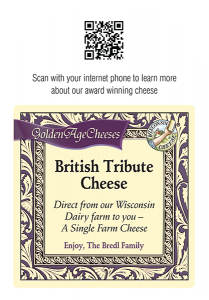 British Tribute Cheese Shelf Talker.