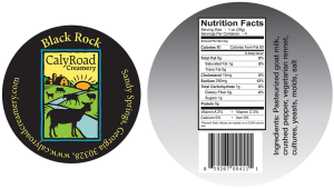 Caly Road Creamery: Black Rock cheese label from Sandy Springs , Georgia.