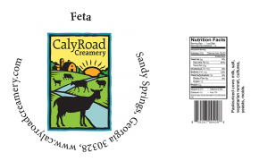 Caly Road Creamery: Feta cheese label from Sandy Springs , Georgia.