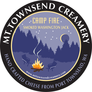 Mt. Townsend Creamery: Camp Fire hand crafted Smoked Washington Jack cheese label.