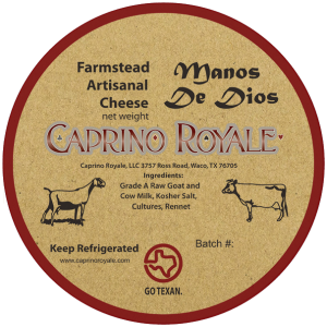 Caprino Royale: Manos De Dios Kraft Paper cheese label.