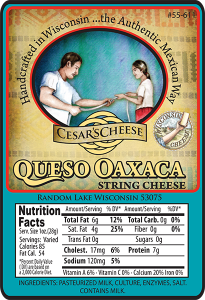 Cesar's Cheese: Queso Oaxaca String wisconsin Cheese label.
