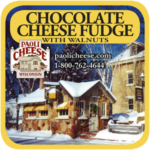 Paoli Cheese, Wisconsin: Chocolate Cheese Fudge with walnuts label.