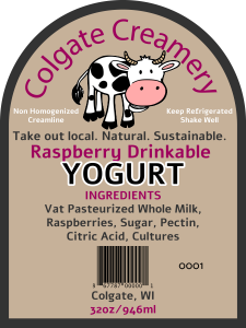 Colgate Creamery consecutively numbered cheese yogurt Label from Colgate, Wisconsin.