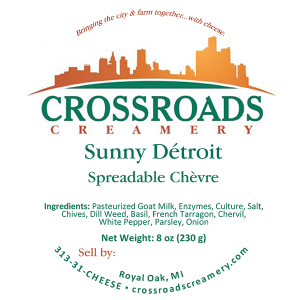 Crossroads Creamery Sunny Detroit Spreadable Chevre michigan cheese label.