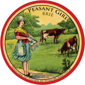 Dublin Farm, LLC: Peasant Girl Brie Michigan cheese label from Royal Oak, Michigan.