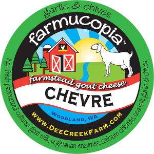 Farmucopia: Farmstead goat cheese Chevre garlic & Chives washington cheese label.