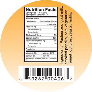 Goat milk cheese ingredient label.