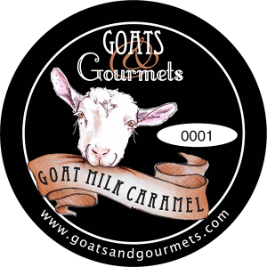 Goats & Gourmets goat milk caramel new york label.