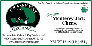 Grassy Way Organics: Organic Monterrey Jack cheese label. Wisconsin cheese label