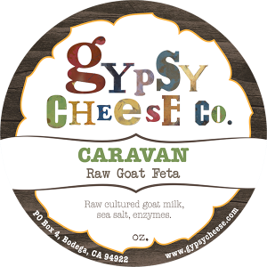 Gypsy Cheese Co. Caravan raw goat feta California cheese label.