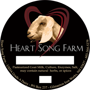 Heart Song Farm pasteurized goat milk cheese label. new hampshire cheese label