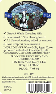 HX Butterfield: Dairy and Farmstead Creamery chocolate milk colorado label.