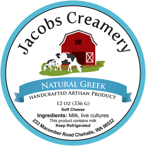 Jacob's Creamery Natural Greek handcrafted artisan product washington cheese label.