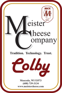 Meister Cheese Company Colby cheese label from Muscoda, Wisconsin.