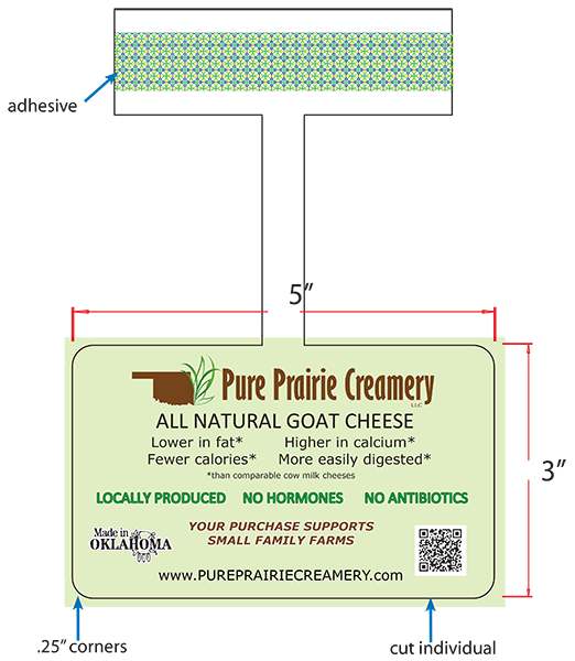 Pure Prairie Creamery: All Natural Goat Cheese Shelf Talker.