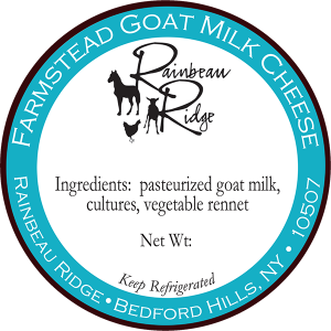 Rainbeau Ridge: Farmstead Goat Milk New York Cheese label.