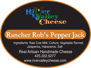 River Valley Cheese: Rancher Rob's Pepper Jack cheese label. Real Artisan Handmade Washington Cheese.