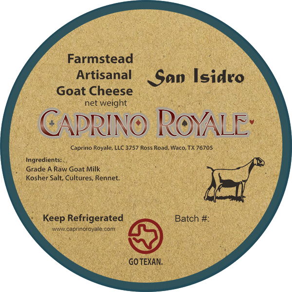 San Isidro Caprino Royale Kraft Paper cheese label.