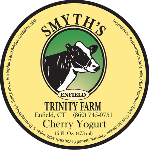 Smyth's Trinity Farm Cherry Yogurt label from Enfield, CT.