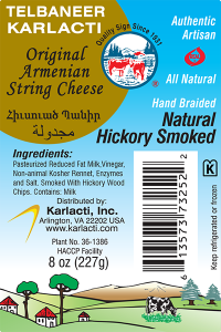 Telbaneer Karlacti Authentic Artisan Armenian String virginia Cheese label