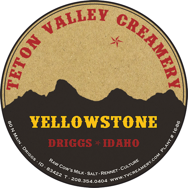 Teton Valley Creamery Yellowstone natural brown Kraft Paper cheese Label from Driggs, Idaho.