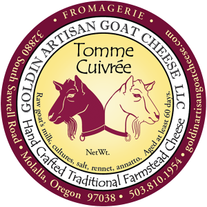 Goldin Artisan Goat Cheese LLC: Tomme Cuivree hand crafted traditional farmstead oregon cheese label.