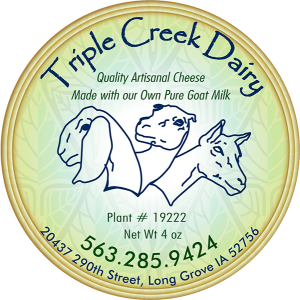 Triple Creek Dairy quality artisanal goat iowa cheese label.