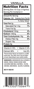 Vanilla yogurt ingredient label.