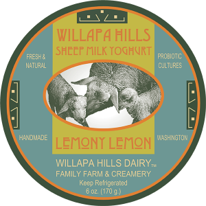 Willapa Hills Dairy: Sheep milk yogurt label (lemony lemon) washington .