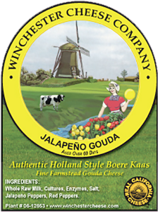 Winchester Cheese Company: Jalapeno Gouda authentic Holland style Boere Kaas california cheese label.