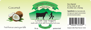 Springs of Hope Cream Top Yogurt: Coconut artisan yogurt label.