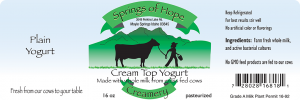 Springs of Hope Cream Top Yogurt: Plain artisan yogurt label.