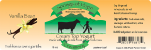 Springs of Hope Cream Top Yogurt: Vanilla Bean artisan yogurt label.