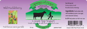 Springs of Hope Cream Top Yogurt: Wild Huckleberry artisan yogurt label.