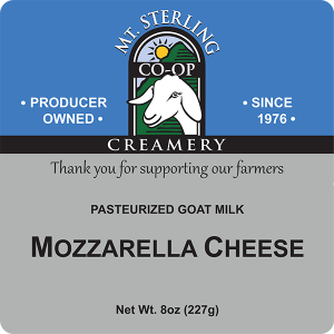 Mt. Sterling Creamery: Pasteurized Goat Milk Mozzarella Cheese label.