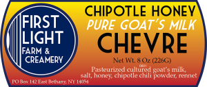First Light Farm & Creamery Chipotle Honey Pure Goat's Milk Chevre label.