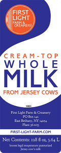 First Light Farm & Creamery Whole Milk label.