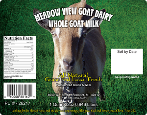 Meadow View Goat Dairy Whole Goat Milk label.